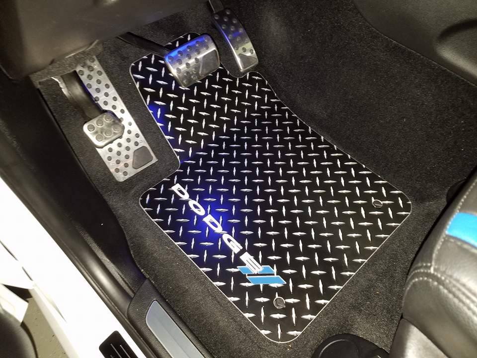Dodge Durango 2013-2019  black Metal  diamond aluminum mats  Custom fit front + rear