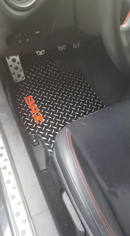Subaru BRZ 12-19 Aluminum floor mats.  Black powder coated metal treads