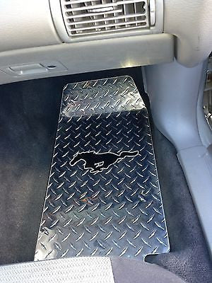 Mustang Emblem Floor Mats Diamond Plate Metal Custom