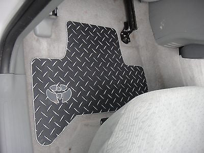 Tachoma  floor mats.  BLACK with exposed METAL diamonds. Driver + passenger