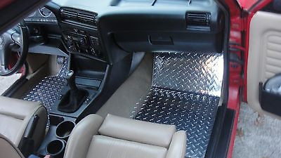 BMW 3 series E30 82-94   aluminum diamond plate  floor mats.  Polished bare Metal finish