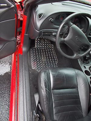 Mustang 93-04 Chrome Polished finish diamond plate mats front and rear