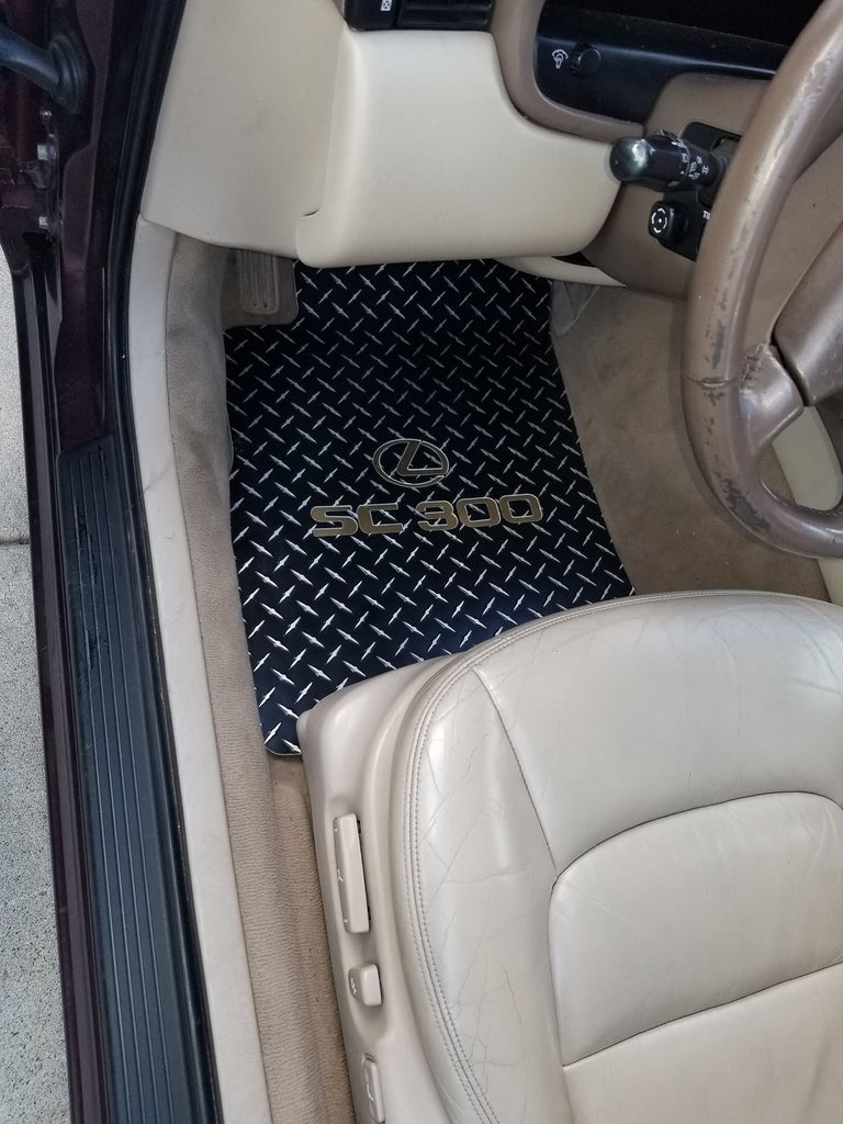 Lexus SC 300 SC 400 91-00  Black Metal diamond aluminum floor mats