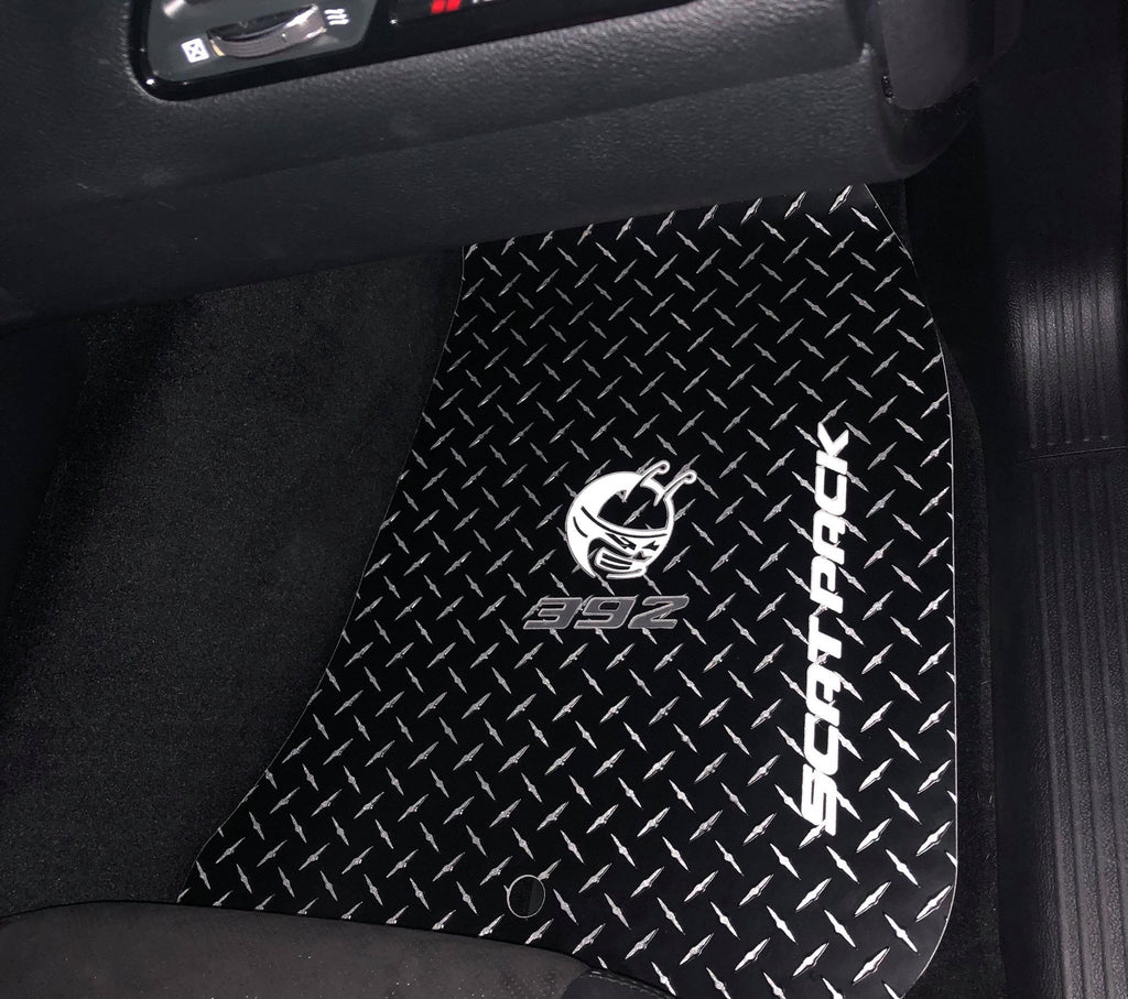 Charger 11-19  scat pack 392 BEE   black Metal diamond  floor mats  Front & rear set