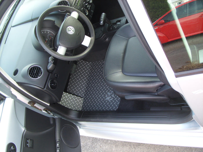 Volkswagen Beetle, Beetle Convertible  98-10  BLACK Metal diamond tread plate floor mats.