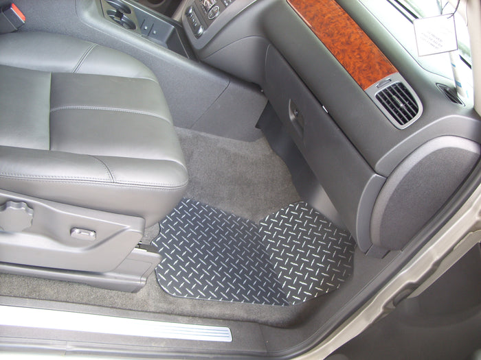 Chevrolet Silverado GMC Sierra  07-13 Black powder coated aluminum diamond plate floor mats.