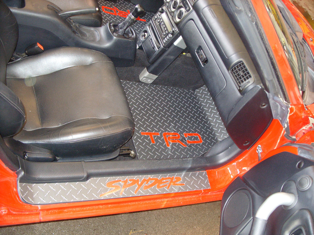Toyota MR2 Spyder 99-07  Black metal diamond plate aluminum floor mats