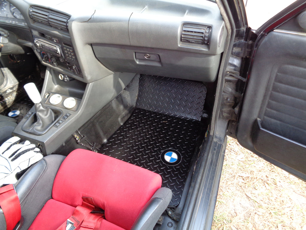 BMW 3 series E30 82-94   aluminum diamond plate  floor mats.  Black powder coated finish