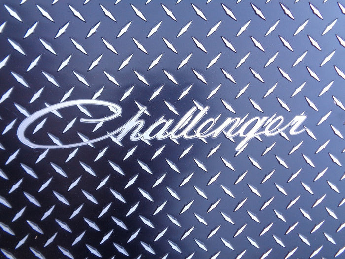 Challenger 2011-2018 aluminum diamond tread plate floor mats. Black powder coat finish