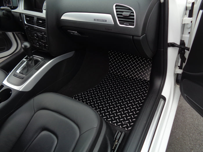 Audi A4 Allroad Avant| Metal floor mats shaped from black powder coated diamond plate
