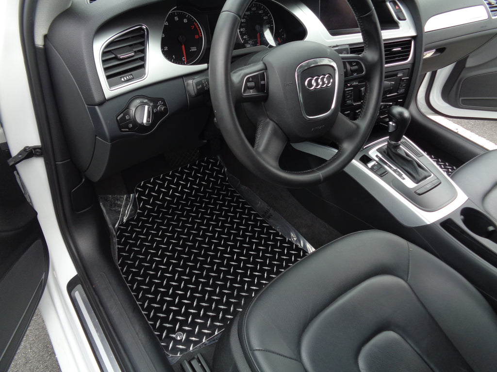 Audi A4 Allroad Avant | Metal floor mats shaped from black powder coated diamond plate