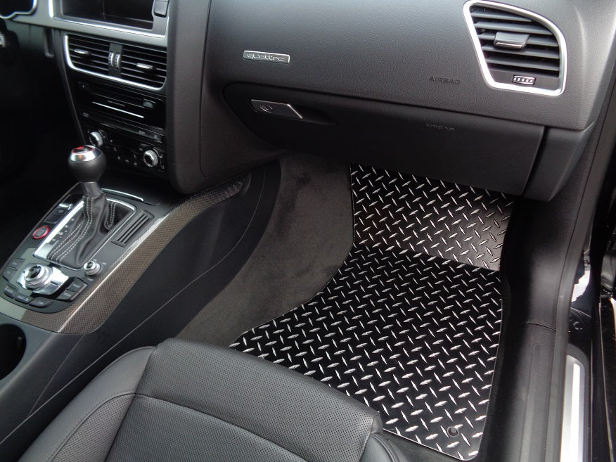 Audi A5 S5 RS5 | Metal floor mats shaped from black powder coated Aluminum diamond plate