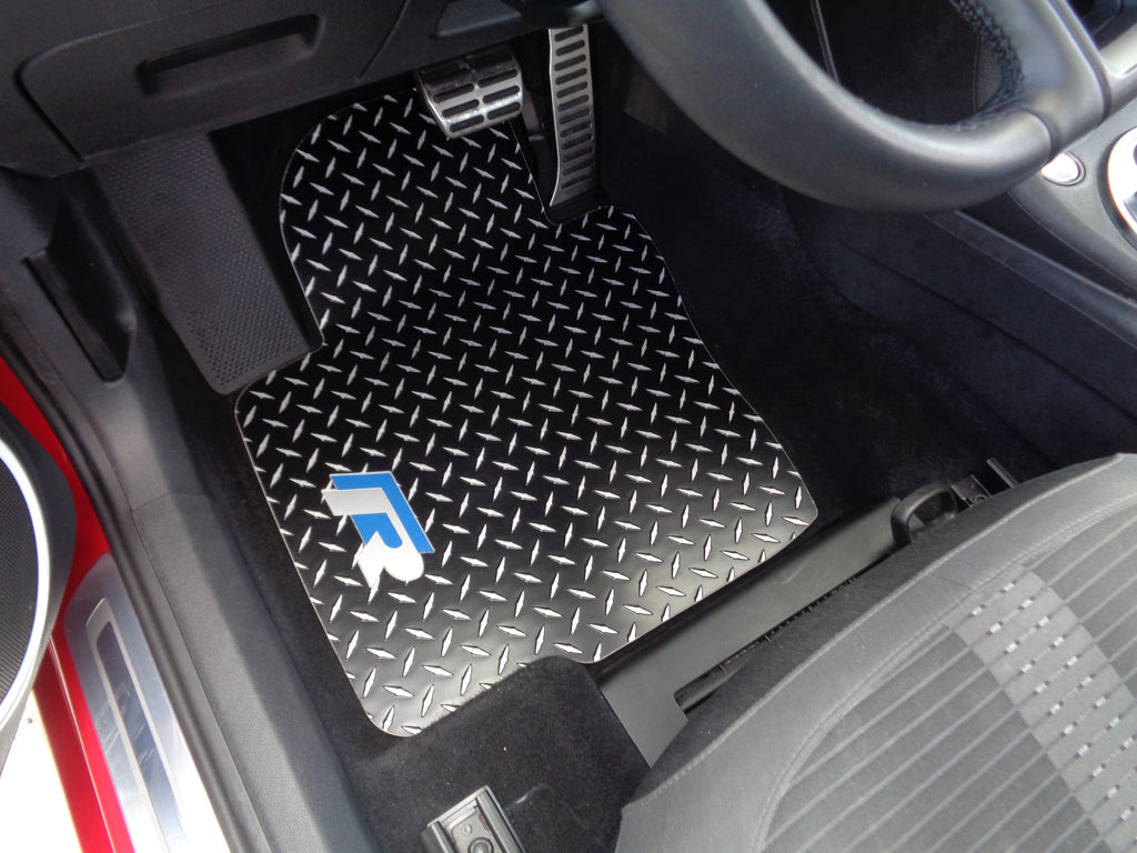 Volkswagen Beetle R  11-19  BLACK Metal diamond tread plate floor mats.