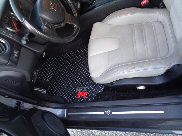 Nissan GTR 08-19 Black METAL diamond mats solid aluminum