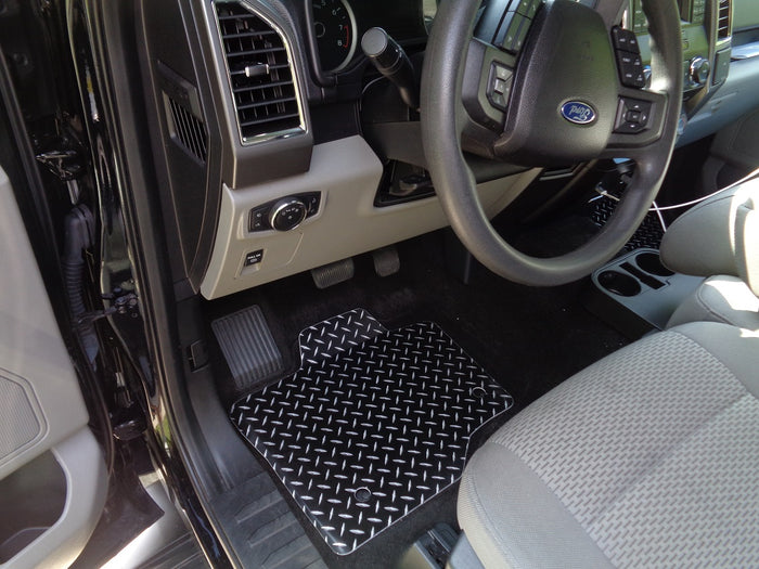 Ford F-150 15-20  Black metal diamond aluminum  floor mats