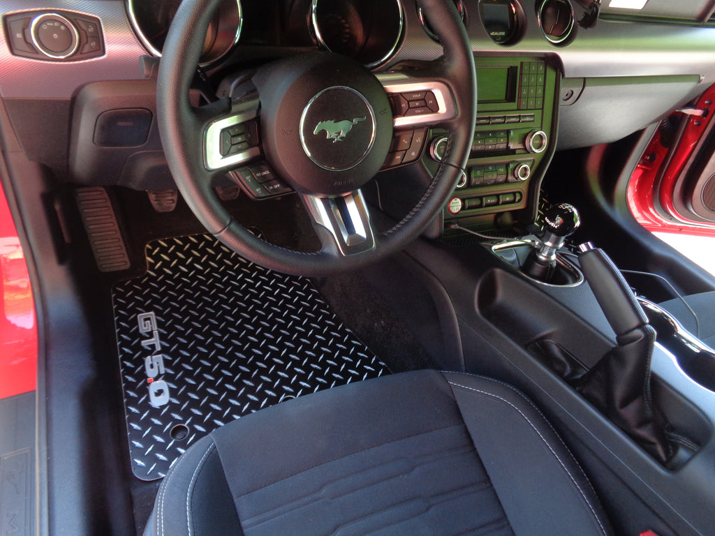 Ford Mustang 2015-2020  GT 5.0  Black METAL diamond aluminum floor mats