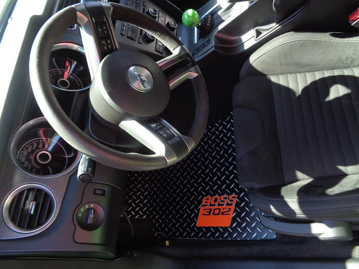 Mustang BOSS 11-14 Diamond plate aluminum floor mats Black powder coated