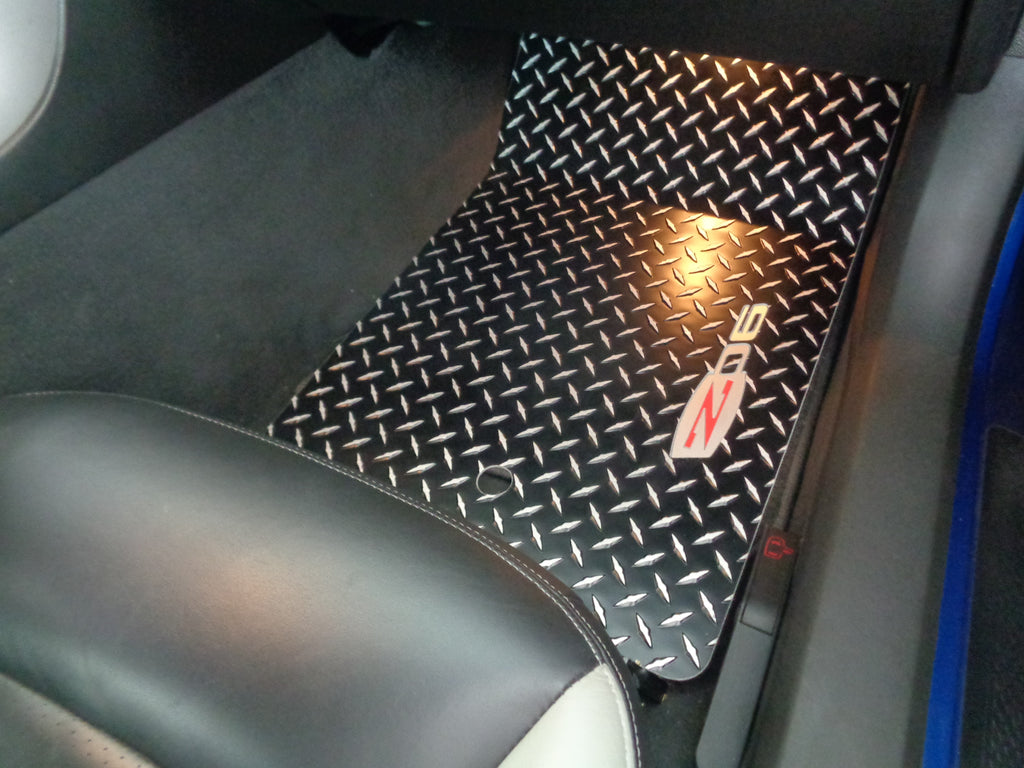 Corvette C6 2003-2012  Z06 Aluminum tread plate floor mats. Black METAL diamond finish