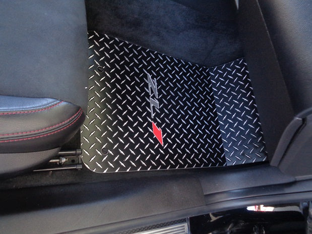Camaro ZL1 12-15  Black powder coated aluminum diamond plate floor mats. Real metal
