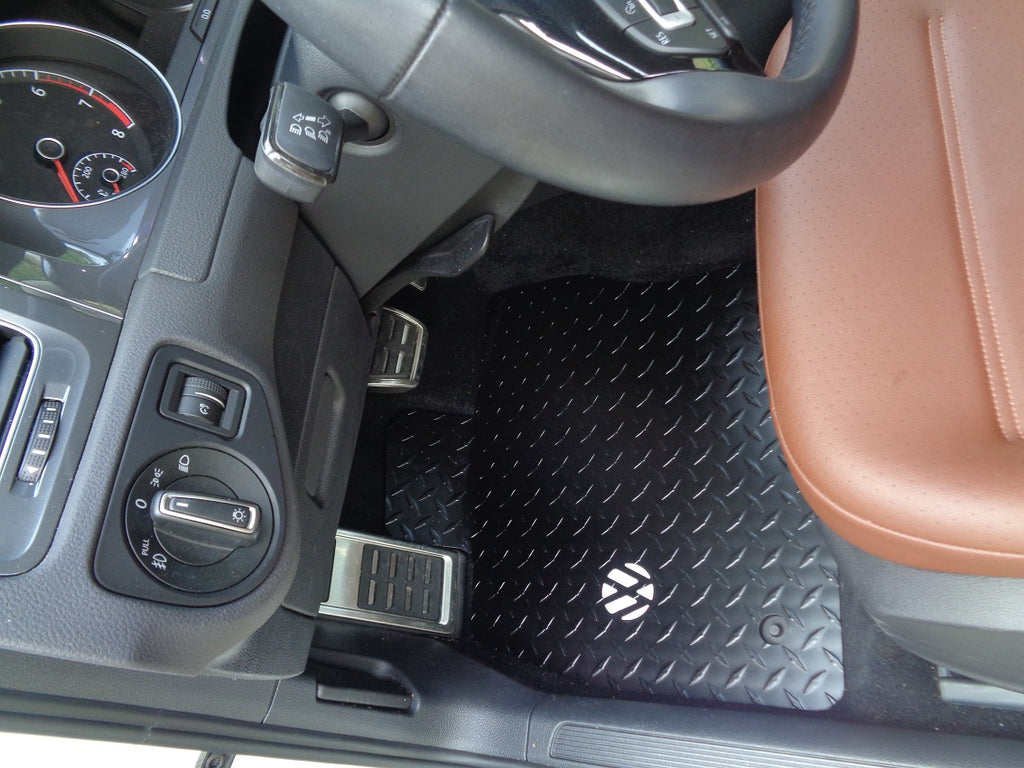 Volkswagen Golf, GTI, Alltrack M7  14-20  BLACK Metal diamond tread plate floor mats.