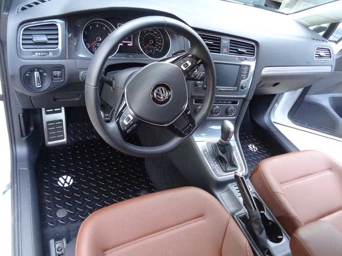 Volkswagen Golf, GTI, Alltrack M7  14-19  BLACK Metal diamond tread plate floor mats.