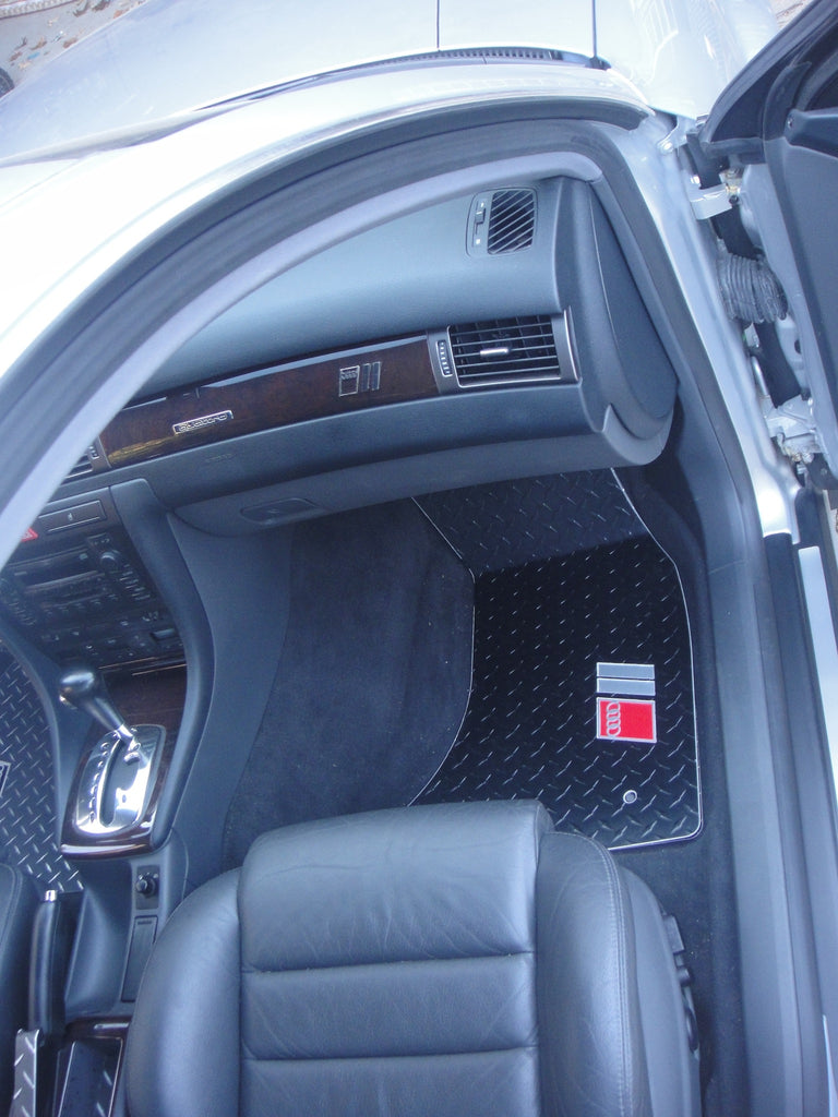 Audi A6 S6 RS6 Allroad 97-04   Metal floor mats shaped from black powder coated diamond plate