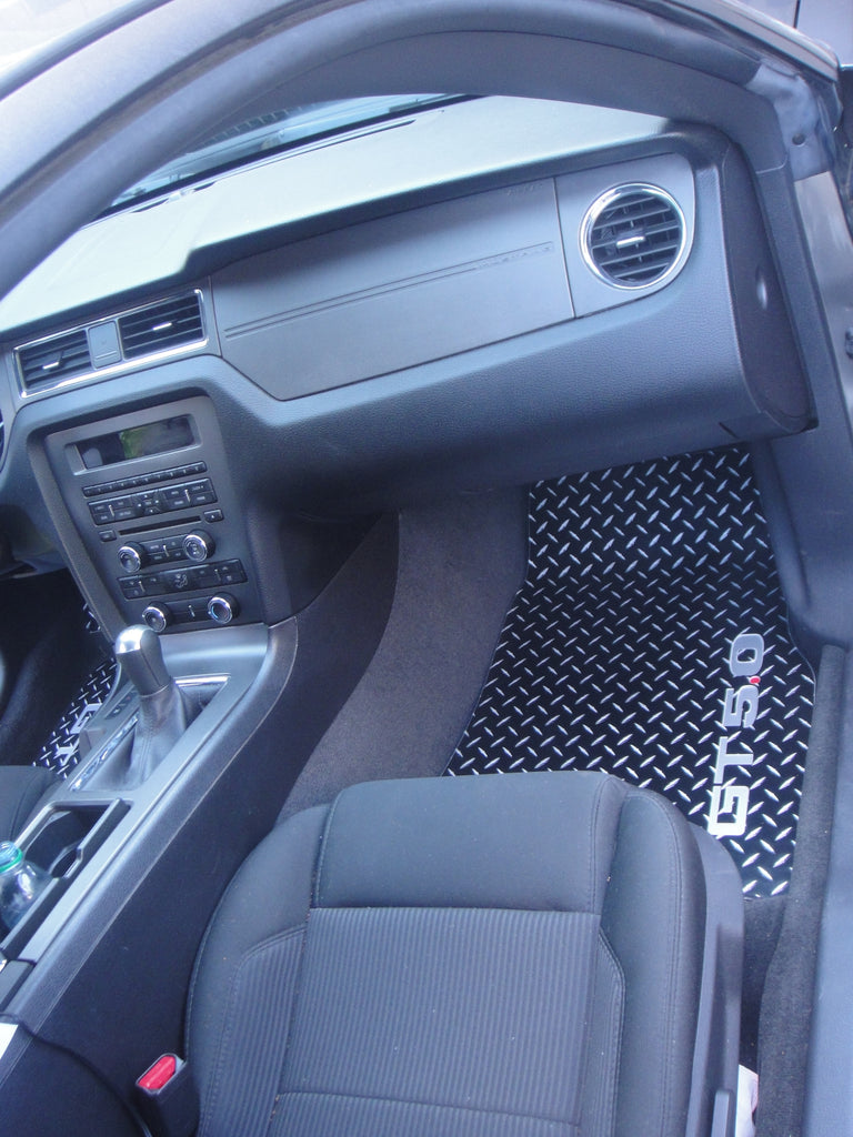 Mustang GT 5.0  11-14 Diamond plate aluminum floor mats Black powder coated