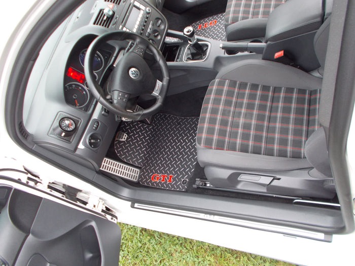 VW Golf GTI (MK5) 05-09 Black Metal diamond Aluminum floor mats, front set