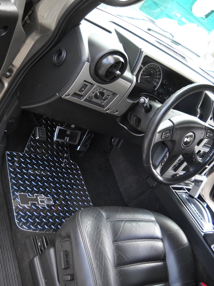 Hummer H2 Diamond plate aluminum floor mats.  Polished finish