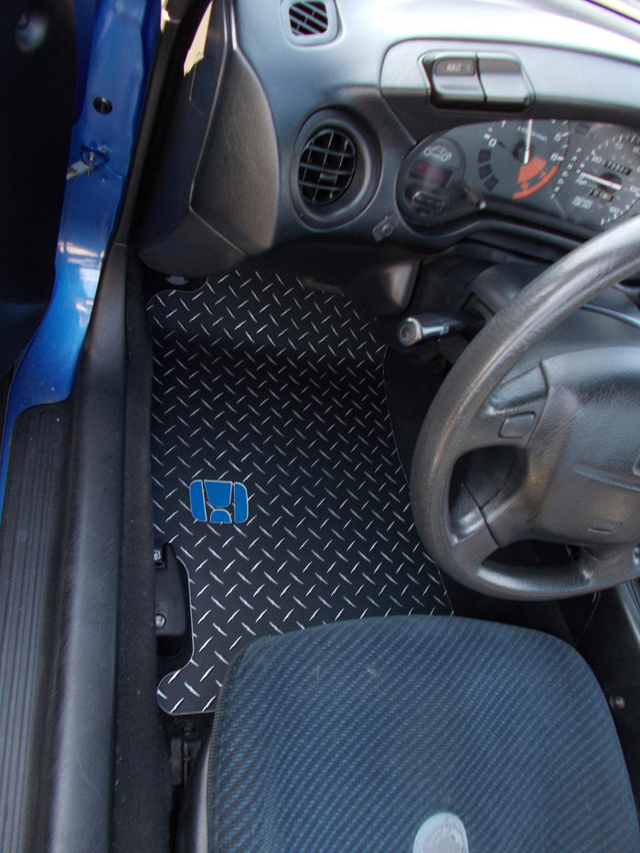 Del Sol 92-98  BLACK METAL diamond finish floor mats