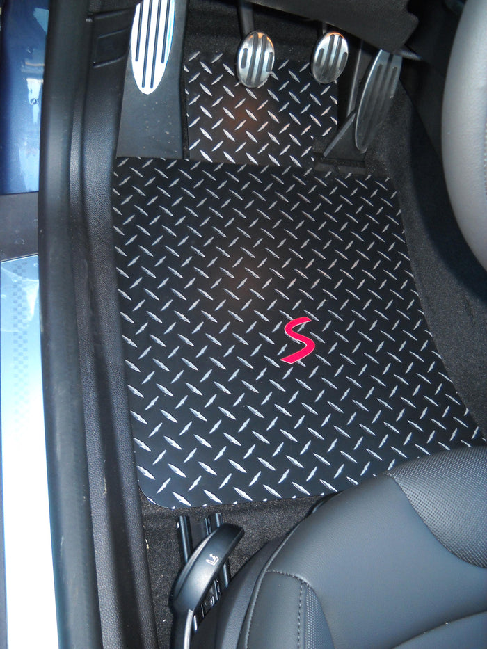 Mini Cooper S R56 07-13 Front Rear and Cargo Hatch mat Black Metal diamonds