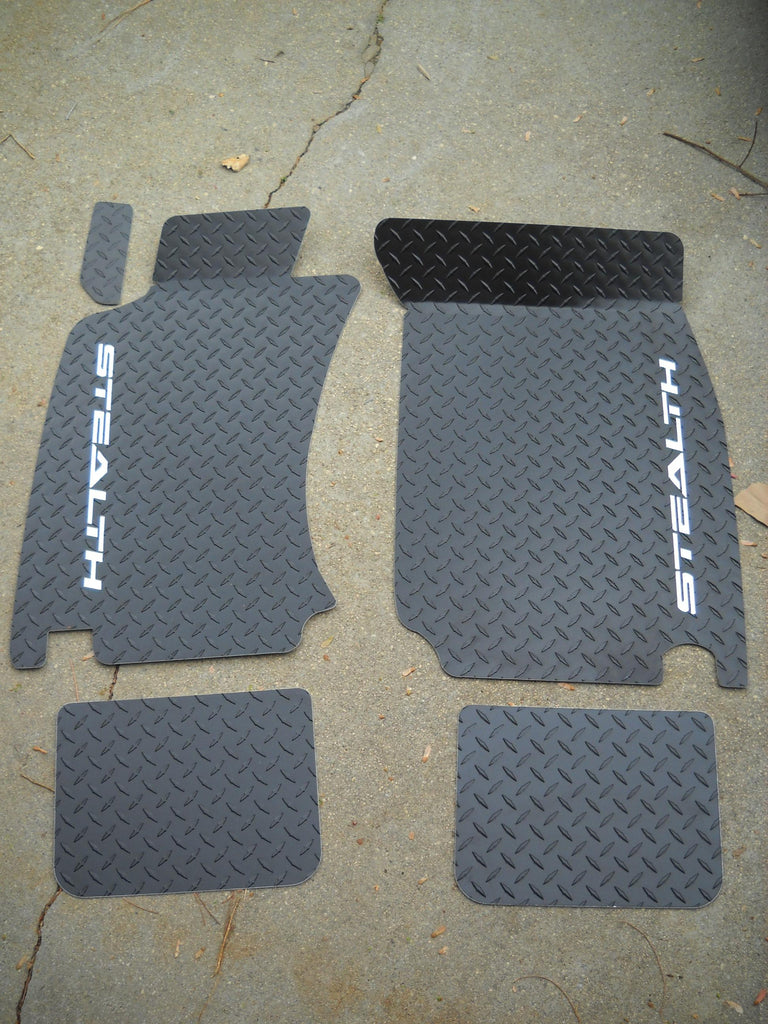 Dodge STEALTH  91-99  aluminum floor mats Black Powder coated diamond tread plate
