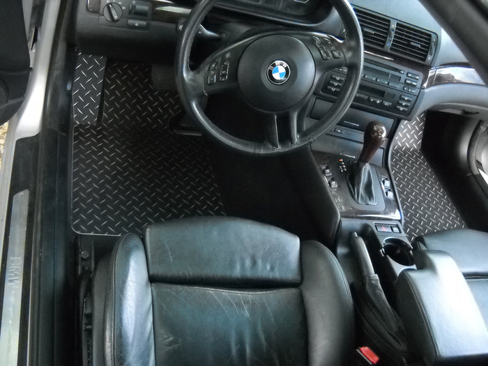 BMW 3 series E46 99-06 323 325 328 I CI Black METAL diamond diamond aluminum diamond plate floor mats