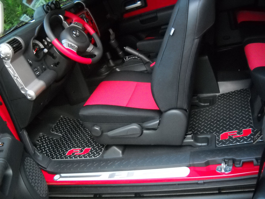 Toyota FJ 06-14  Black Aluminum diamond tread plate floor mats