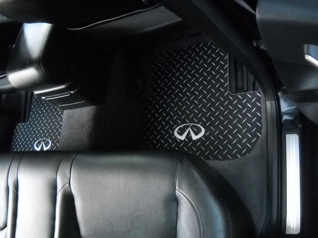 Infiniti G35 03-06  Sedan   Black diamond plate Metal floor mats Front + Rear set