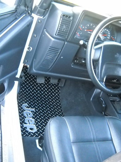 Jeep Wrangler TJ  97-06 Diamond plate floor mats black powder coated Front set