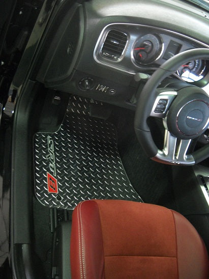 Chrysler 300 SRT8 11-18  Polished diamond plate metal floor mats.  Front rear