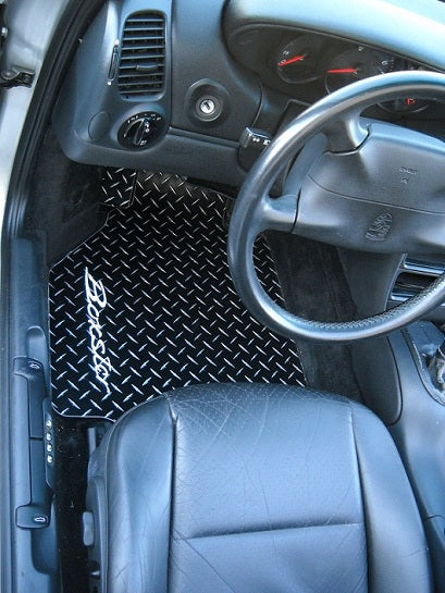 986 Boxster  96-04 Black METAL diamond mats Solid aluminum pair