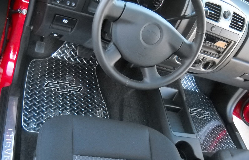 Chevrolet Colorado GMC CANYON 03-12  Black powder coated aluminum diamond plate floor mats.