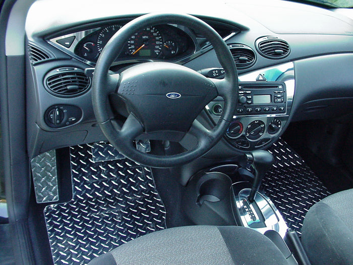 Ford Focus 00-06 diamond plate aluminum floor mats  Polished or Black powder coated