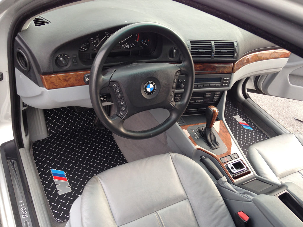 BMW E39 M5  Black diamond Metal  floor mats,  aluminum tread  plate