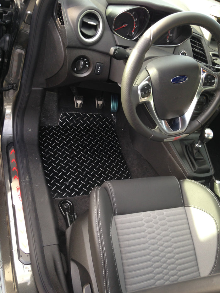 Ford Fiesta  Black metal diamond aluminum  floor mats