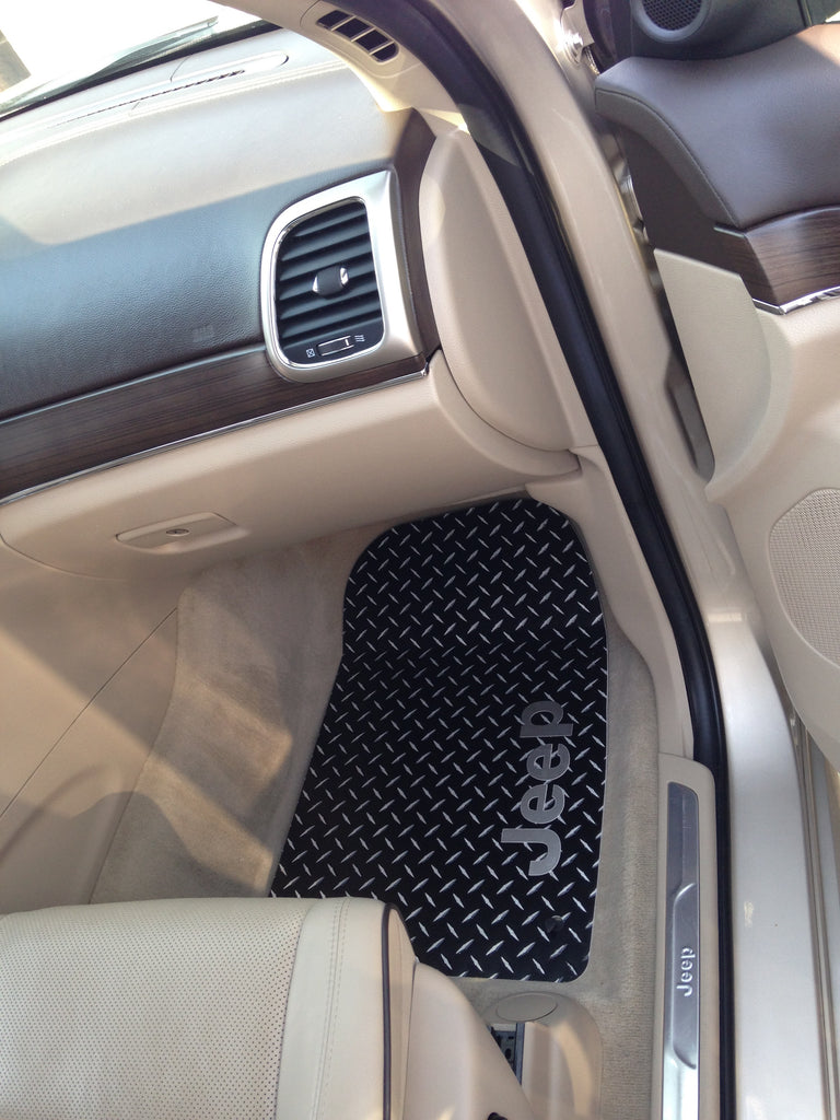 Jeep Grand Cherokee 2011-2012 WK2  black Metal  diamond aluminum mats  Custom fit front + rear