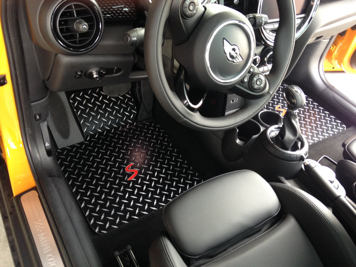 Mini Cooper S 14-19  F56 Hatch Hard Top Black Metal diamond floor mats front set