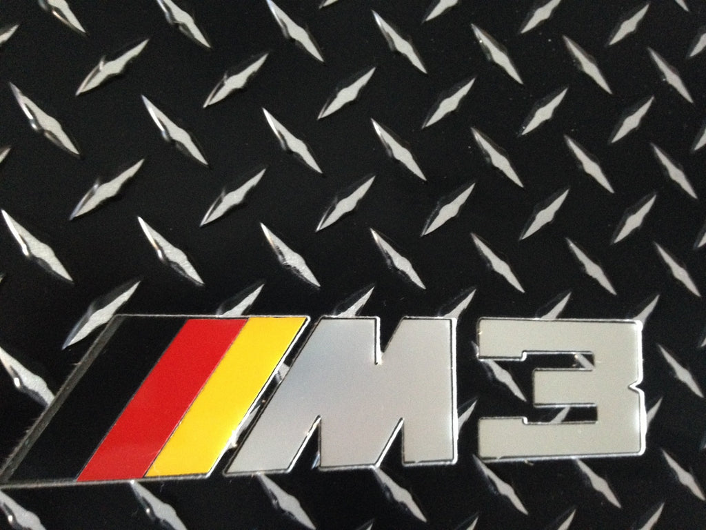 BMW E46 M3 00-06  Black METAL diamond plate aluminum floor mats