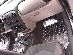 PT Cruiser Diamond plate aluminum floor mats front and rear.  Polished finish