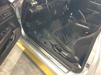 Honda Prelude 92-01 Polished Metal mats shaped from Diamond tread plate