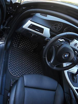 BMW 3 series E90 E91 E92 E93 07-12  Black & Metal diamond floor mats.  Custom shaped Front ,rear + foot