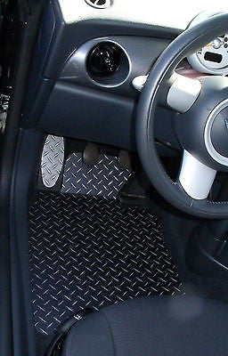 Mini Cooper 02-06  diamond plate Aluminum floor mats Front set Black powder coated