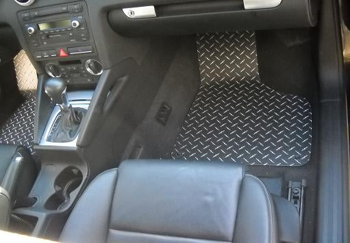 Audi A3 A3 04-12  Metal floor mats shaped from diamond plate aluminum front set + foot rest cover